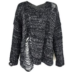 ZLYC Women Twisted Yarn Distressed Chunky Laddering Hem Detail Knit... ($35) ❤ liked on Polyvore featuring tops, sweaters, jumpers, jumpers sweaters, twist top, black sweater, distressed sweater and black knit sweater