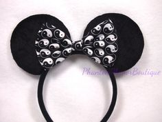 Minnie Mouse Ears Ying Yang Black & White by PhantomManorBoutique