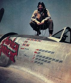 Ed Fisher was one of only three aces created by the 362nd FG. He claimed five victories flying P-47D razorbacks before gaining his final two kills (both Bf109s) in this machine on August 9, 1944. Despite being officially credited with four Fw 190s and three Bf109s destroyed, the tally carefully painted onto 42-26919 shows four Fw 190s, one Bf109 and two Bf110s, as well as three V1s. . Ed Fisher failed to return from a mission to Elmersdorf in October 1944.