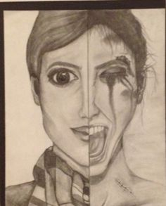 """""""Two Faced"""" by Mackenzie Morton from the Goodson Middle School art program. #ArtColony #HouArtFest"""