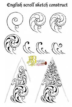 English scroll Leather Tooling Patterns, Leather Pattern, Illuminated Letters, Illuminated Manuscript, Gravure Metal, Motif Baroque, Metal Engraving, Scroll Pattern, Leather Carving