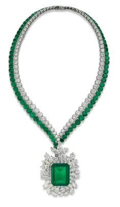 A Colombian emerald and diamond pendent necklace, by Harry Winston More