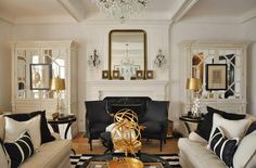 black and white living rooms | white living room gold accents black details fireplace mantel decor