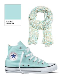 Scarf yes, pass on the Converse All Stars.  Aruba Blue.  All via unamoscaenlaluna.com