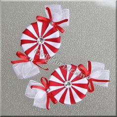Red & White Peppermint Candy Hair Clip w/RED