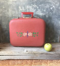 Hardside Vintage Suitcase | Red Vintage Luggage | Carson Suitcase | Stencilled Suitcase | Retro Travel | Home Storage | Home Organization by Untried on Etsy
