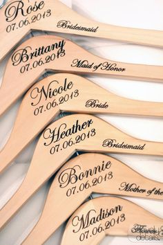 Wedding Hanger - Bridal Party Hangers. I bet I could do these myself :)