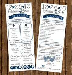 Celebrate your upcoming Wedding as the future Mr. and Mrs. with these super fun infographic Wedding Programs! Your guest will surely be entertained while they wait for the beautiful bride to make her entrance. All while getting to know the wonderful couple and knowing the order of