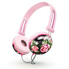 Pastel black floral Headphones