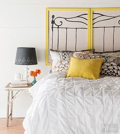 With crafts store supplies, you can make a DIY headboard that nods to a classic wrought-iron bed frame silhouette.