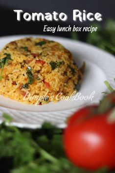 Thakkali_Rice Easy Lunch Boxes, Lunch Box Recipes, Rice Recipes, Recipies, Tomato Rice, Recipe Steps, Fried Potatoes, Indian Dishes, Rice Dishes