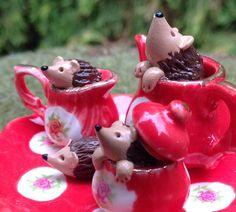 Hedgehog figurine miniature sculpture in tea by Beneaththeferns