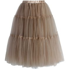 Chicwish Amore Tulle Midi Skirt in Caramel (€45) ❤ liked on Polyvore featuring skirts, brown, knee length tulle skirt, brown midi skirt, calf length skirts, tulle midi skirt and pull on skirt