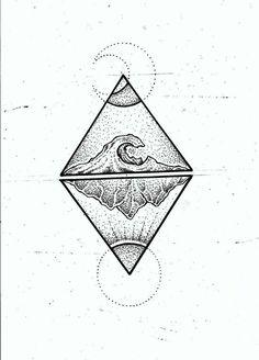 Ideas Of Cool Geometric Tattos Body Art Tattoos, New Tattoos, Small Tattoos, Tattoos For Guys, Cool Tattoos, Tatoos, Tattoo Sketches, Tattoo Drawings, Montain Tattoo