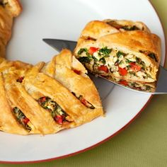 "Fresh veggies, cooked chicken, spinach and fontina cheese are enclosed in a puff pastry ""braid"" and baked until golden brown. Each slice delivers incredible flavor that will have your guests begging for more!"