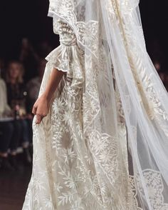 A less whimsical take on botanical with bold, sculptural florals that blossomed bridal week runways. Custom Wedding Dress, Perfect Wedding Dress, Wedding Gowns, Carrie Bradshaw, Naeem Khan Bridal, Yves Saint Laurent, Bohemian Bride, A Line Gown, Vogue