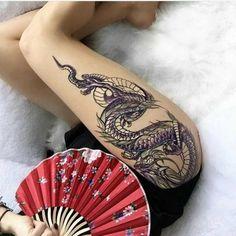 Hot Dragon Tattoos For Girls dragon tattoo for women Dragon Thigh Tattoo, Dragon Tattoo For Women, Dragon Tattoo Designs, Tattoo Designs For Women, Tattoos For Women, Trendy Tattoos, Sexy Tattoos, Body Art Tattoos, Girl Tattoos