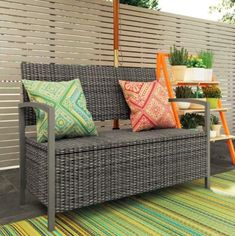 Storage Bench Seat Garden Outdoor Plastci Grey Shoe Tools Box Chest Patio Seater