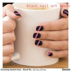 Shop Stunning Stylish Pink - Black Nails Minx Nail Art created by Lisa_Ewing. Black Nail Designs, Short Nail Designs, Cute Nail Designs, Acrylic Nail Designs, Nail Designs For Summer, Pedicure Designs, Gel Designs, Beautiful Nail Designs, Pink Black Nails