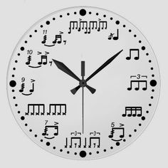 Drum Notes and Rudiments Music Clock for Drummers. You should mix up the numbers and pit digital light up arrows so only those who know the notes can tell its time. Music Clock, Drum Music, Music Wall, Drum Notes, Piano Design, Drums Art, Guitar Art, Music Guitar, Drum Room