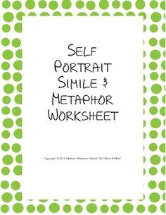 Simile and Metaphor Self-Portrait {FREE Worksheet}