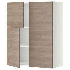 METOD Bovenkast m planken/4 deuren - wit, Brokhult walnootpatroon lichtgrijs - IKEA