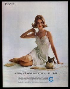 1962 J.C Penney Adonna lingerie woman in slip Siamese cat photo vintage print ad Vintage Advertisements, Vintage Ads, Vintage Prints, Vintage Photos, Vintage Posters, Vintage Slip, Vintage Lingerie, Women Lingerie, Nylons