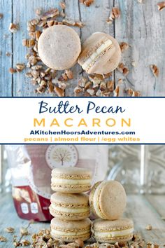 Butter Pecan Macaron have pecans in the shells and butter flavor in the buttercream. They were so good they VANISHED! The intoxicating butter flavor with the sweet pecan shells are irresistible. Pecan Recipes, Almond Recipes, Baking Recipes, Cookie Recipes, Dessert Recipes, Baking Desserts, Cake Mix Cookies, Sandwich Cookies, Cupcakes
