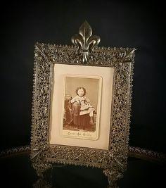 Antique French Tin Gilded Art Nouveau Photo Frame Photo Portrait Dresser Mirror by OldGLoriEstateSale on Etsy