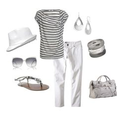 love the grey and white, cute and casual - just without the hat :)   (created by olmy71 on Polyvore)