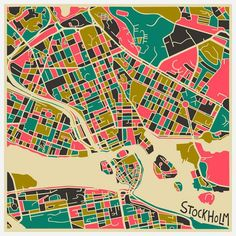 MAP & CITY ILLUSTRATION Abstract Maps of Famous World Cities - Stockholm
