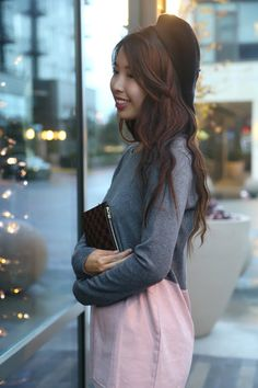 ally gong, beret, hat, cute, asian, french, girl, pink, charming, sweet, feminine, chic, girly, city, curls, hairstyle, smile,