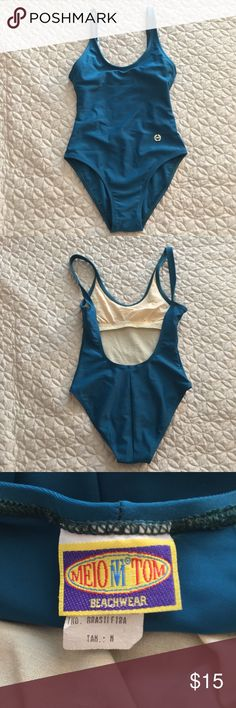 Teal 90s One Piece Swim Suit / Bodysuit Brazilian Meio Tom Beachwear | Brazilian Swimsuit Brand. Teal one piece swimsuit with low back. Tag says size medium but I would fit an extra small. Beautiful quality, likely from the 90s. Meio Tom Swim One Pieces