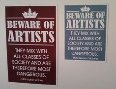 Beware of Artists sign smaller size by Theerin on Etsy