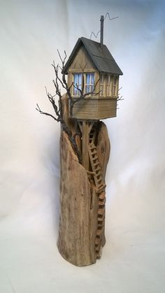 Driftwood Sculpture Art Driftwood House by ModartDiorama on Etsy