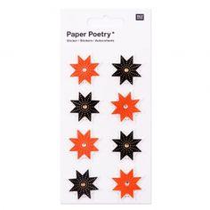 Planche de 8 stickers en 3D 7x15 cm Etoiles Rouge/Noir
