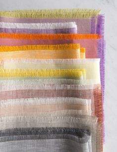 Fringed watercolor linen napkins by Purl Soho Sewing Patterns Free, Free Sewing, Free Pattern, Knitting Patterns, Hanging Travel Organizer, Swatch, Bath Towels, Tea Towels, Pallets