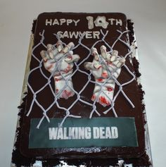 The Walking Dead Cake This is a birthday cake we did in the theme of The Walking Dead. It's based on season 3 during the time at the. Zombie Birthday, Zombie Party, 14th Birthday, Man Birthday, Walking Dead Birthday Cake, The Walking Dead, Horror Cake, Zombie Cupcakes, Halloween Cakes