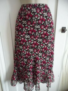 d340716fa Ladies size 10 East black pink white grey mix floral lined summer skirt  elastic #fashion