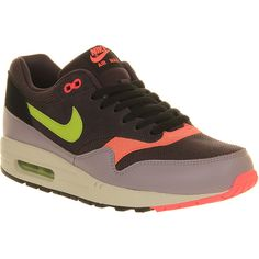 Nike Air Max 1 ($80) ❤ liked on Polyvore featuring shoes, athletic shoes, cave purple green, trainers, unisex sports, nike footwear, nike shoes, unisex shoes, green shoes and sports footwear