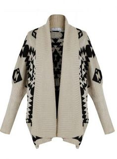 Aztec Knitted Drape Cardigan,  Sweater, Knitted Aztec Open Cardigan, Chic