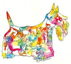 Scottish Terrier Art Print Hand Colored  Scotty Dog silhouette artwork 5 x 7 brushfolks style choose floral red blue running