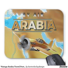 Vintage Arabia Travel Poster Mouse Pad
