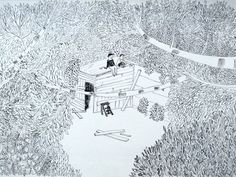 drawing - wooden cabin