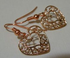 Valentine       Rose Gold Copper Earrings   by ScorpionMoonDesigns, $24.00
