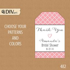 PRINTABLE 2x3 in Bridal Shower Favor Tag, Baby Shower Tag, Wedding Favor Tags, Hang Tag - quatrefoil - pink and gray or any colors by DIVart, $8.00