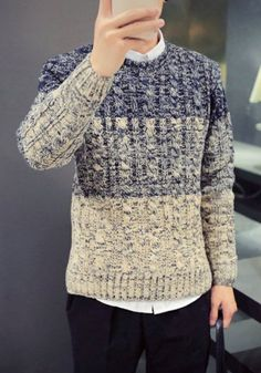 Casual Round Neck Shade Color Jacquard Long Sleeve Men's Sweater