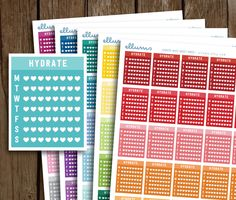 Hydrate Heart PRINTABLE PLANNER STICKERS | Weekly Box | Heart Hydrate Tracker | Drink Up | Water Tracker | Side Bar | Rainbow | Erin Condren by ellums on Etsy