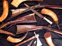 American Civil War Artifacts -                                                              Powder horns and rifles
