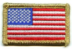 Iron On Applique Patch American Flag with Metallic Gold Border Patriotic USA